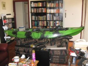 One of the benefits of being single is I get to keep my kayak on a sofa in my lounge! Cool! :D