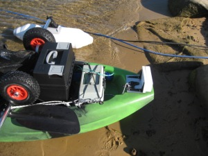 Kayak stern, showing kayak trolley, Powercharcher 2, tackle-box and home-made transom